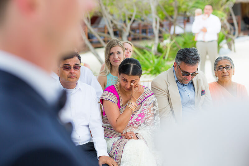 parents of bride at wedding ceremony