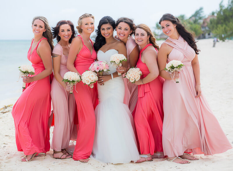 Portrait of Bridesmaids on beach in Riviera Maya