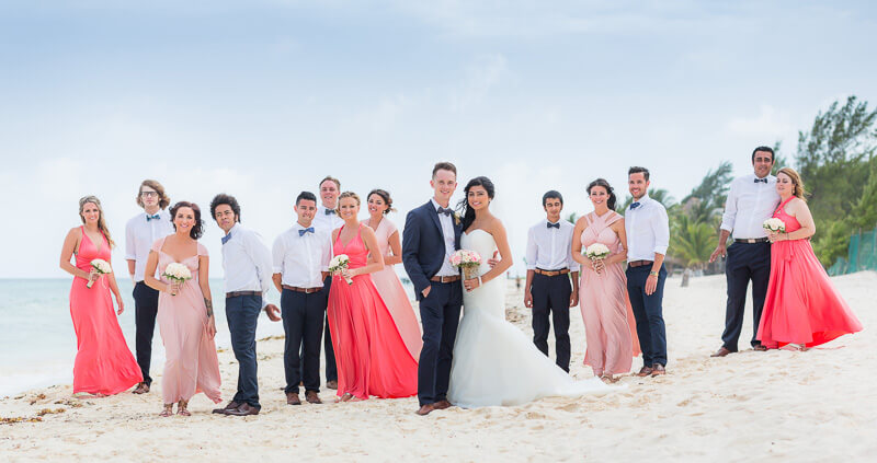Bridal party on beach in Riviera Maya