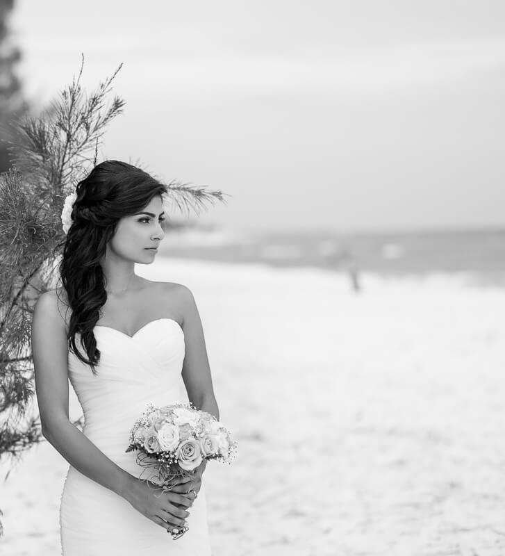 Portrait of bride on beach