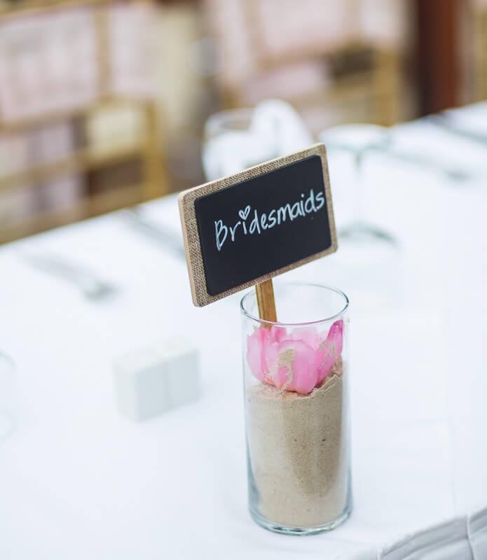 Close up of name card at wedding.