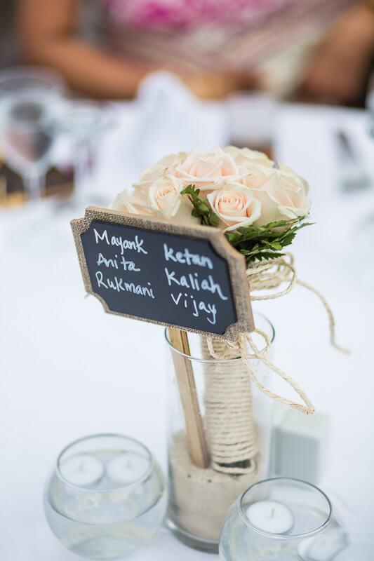 Close up of decor at wedding reception.