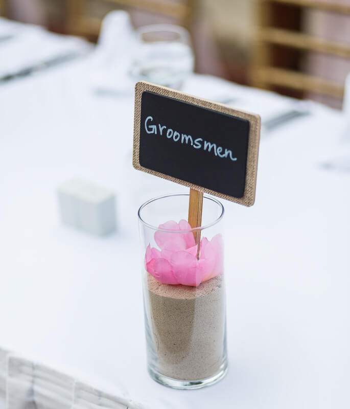 Close up of name card at wedding reception