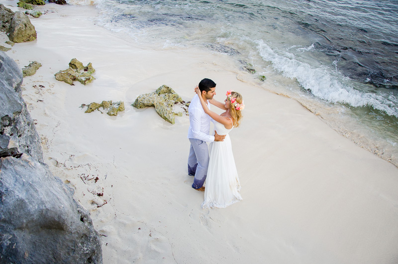 Portrait perspective overlooking the ocean at Tulum beach wedding