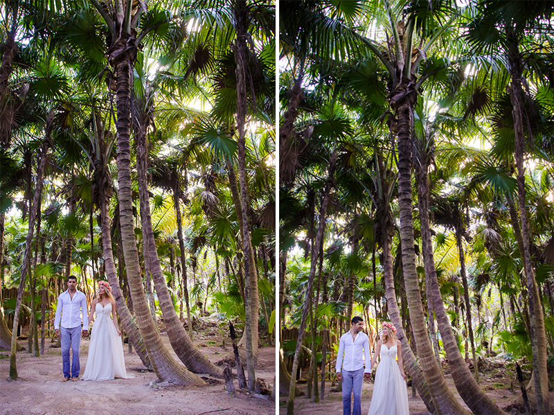 Bride and groom by the jungle at Tulum wedding