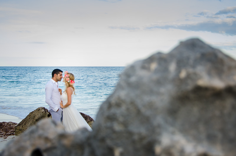 Couple portrait at Tulum beach wedding