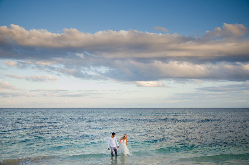 Bride and groom portrait at Tulum Beach
