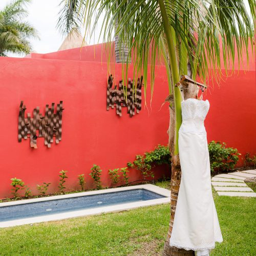 Brides dress hanging at Iberostar Grand Hotel Paraiso