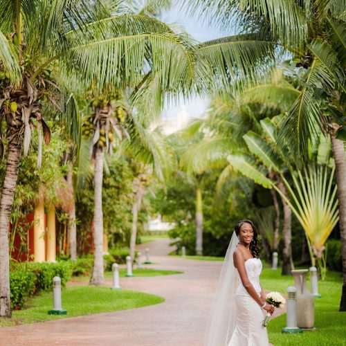 Portrait of bride before her wedding at Iberostar Grand Hotel Paraiso