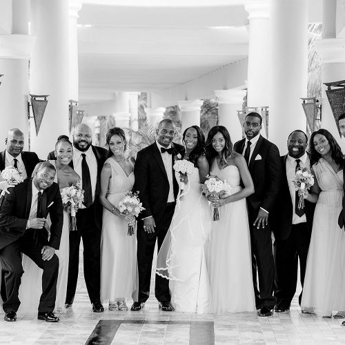 Bridal party in black and white at Iberostar Grand Hotel Paraiso wedding