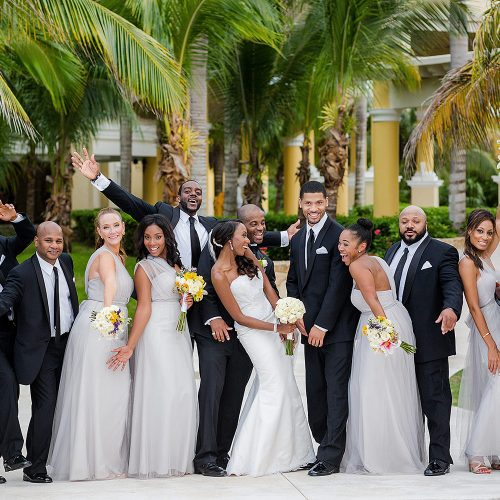 Bridal party having fun at Iberostar Grand Hotel Paraiso wedding