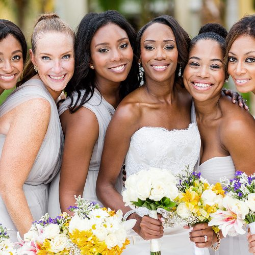 Close up of bridesmaids after wedding