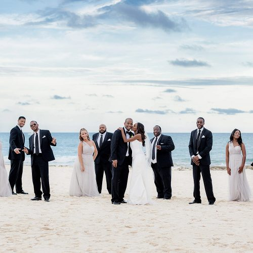 Bridal party on the beach at Iberostar Grand Hotel Paraiso