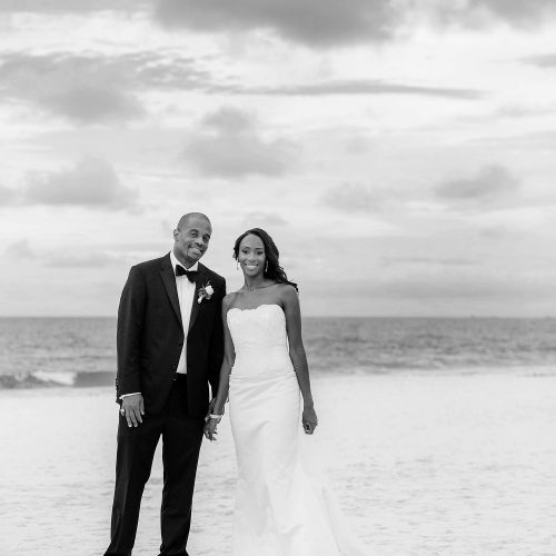 Portrait of bride and groom on beach at Iberostar Grand Hotel Paraiso