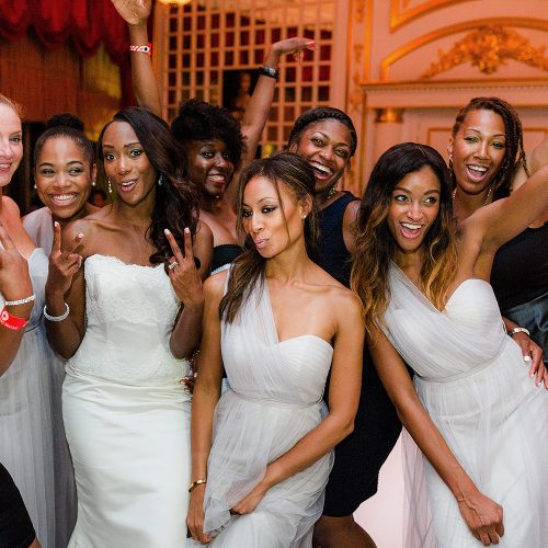 Bridesmaids having fun at Iberostar Grand Hotel Paraiso wedding reception