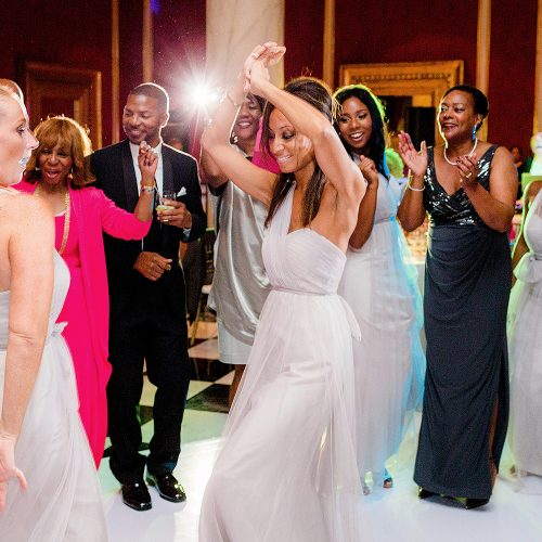 Guests and bridal party dancing at Iberostar Grand Hotel Paraiso wedding
