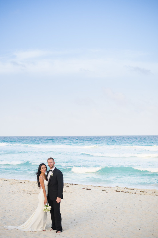Bride and Groom on Beach at Secrets on the Vine, Cancun