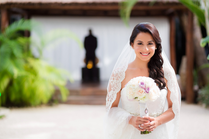 Bride before wedding at Playacar Palace Resort , Playa del Carmen