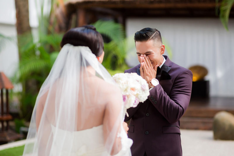 Groom sees bride for first time at Playacar Palace Resort, Playa del Carmen.
