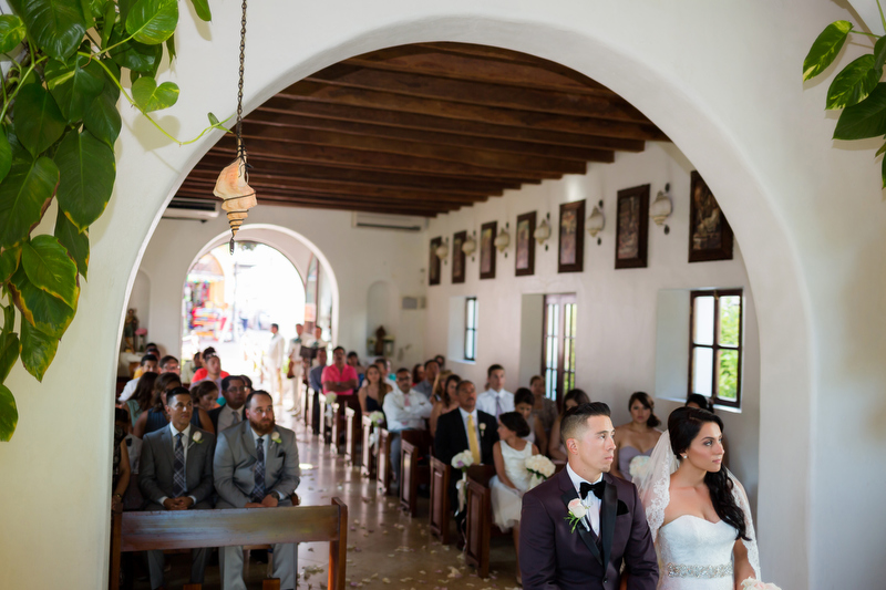 Bride and Groom at wedding Chapel in Playa del Carmen Mexico.