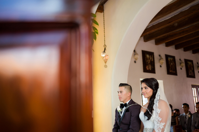 Bride and groom at church in Mexico