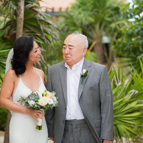 Bride and father before wedding ceremony in Tulum