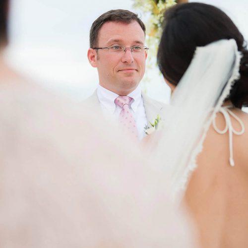 Bride and groom at Tulum wedding ceremony