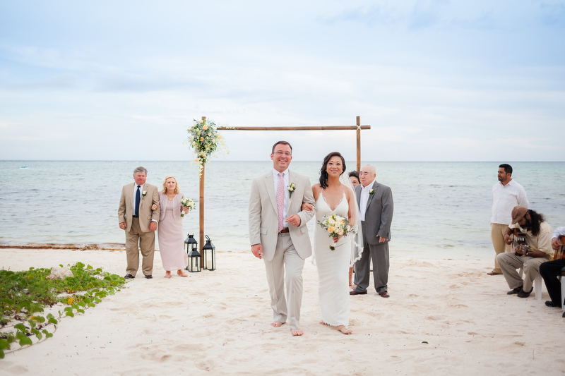 Wedding on beach at Soliman Bay Tulum Mexico