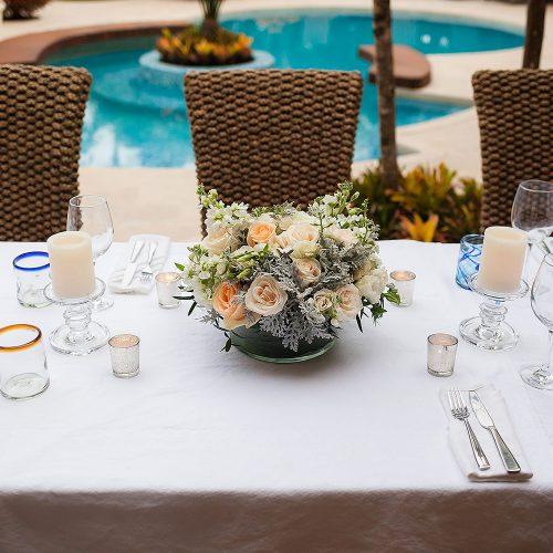 flowers at wedding reception in Tulum