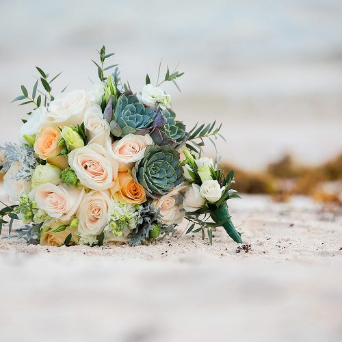 Bridal bouquet on beach