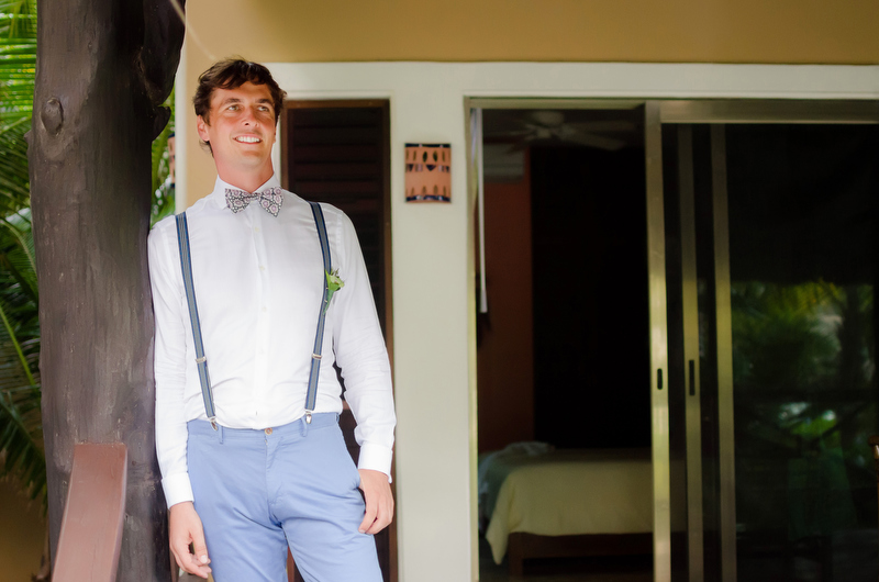 Groom before wedding at Sombras del Viento, Tulum