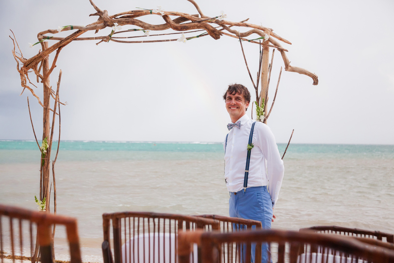 Groom waiting for bride at solomin bay, tulum wedding
