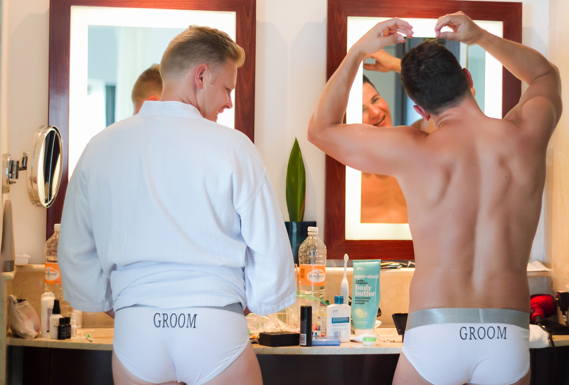 Two Grooms getting ready at Live Aqua Resort