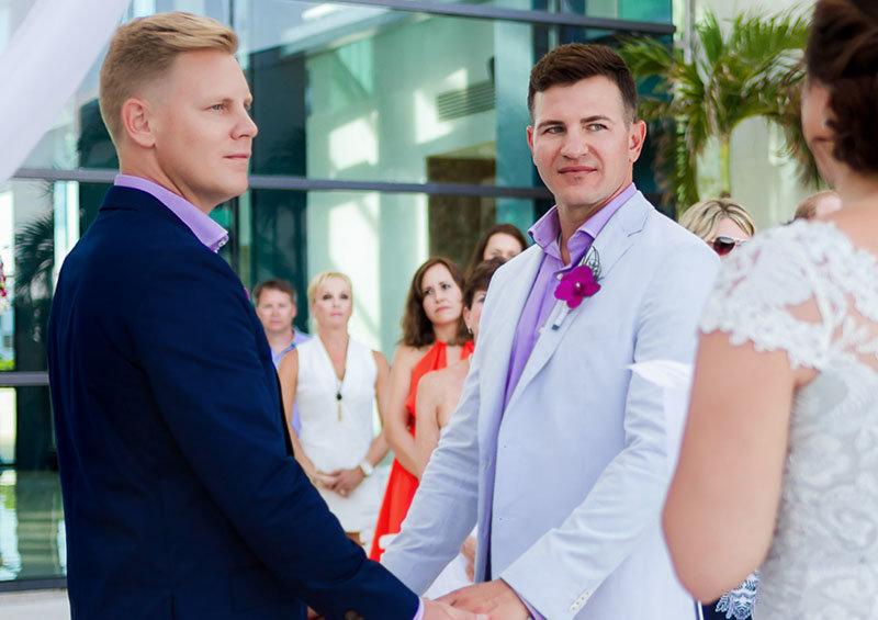 Two grooms at wedding ceremony, Live Aqua Cancun wedding