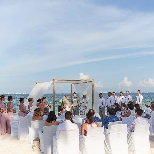 Beach wedding ceremony location at Excellence Playa Mujeres