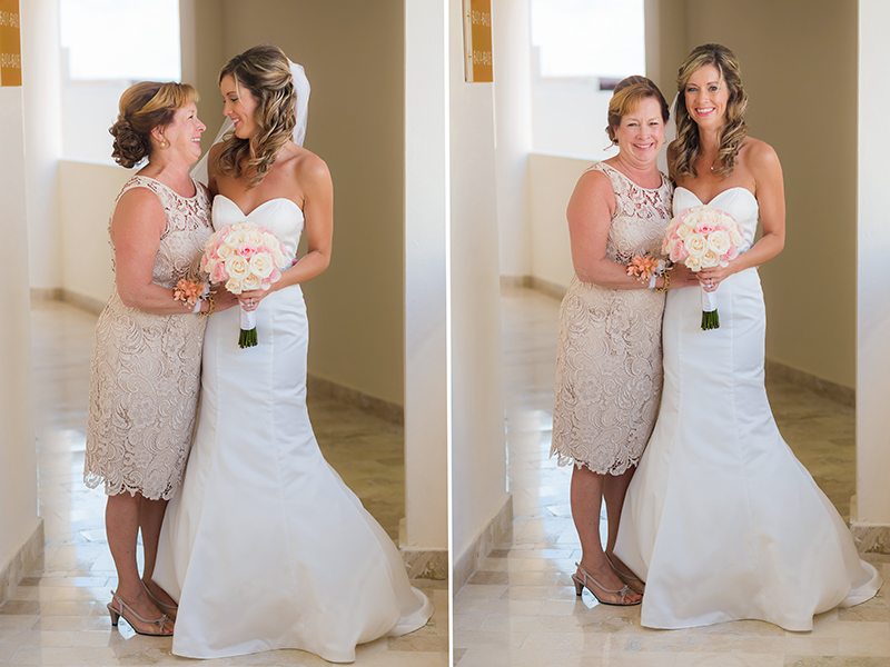 Fun portraits of bride with mother at destination wedding in Cancun