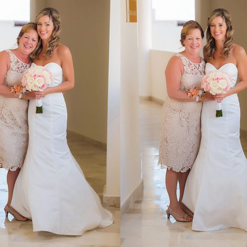 Two portraits of mother and bride in hallway at NOW Jade Riviera Cancun before wedding