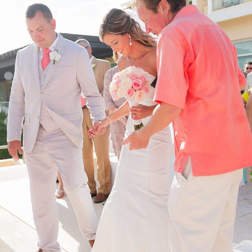 Bride arriving at wedding ceremony at NOW Jade Riviera Cancun