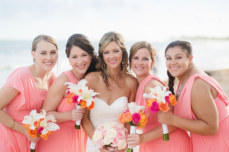 Bride with Bridesmaids at destination wedding in Cancun