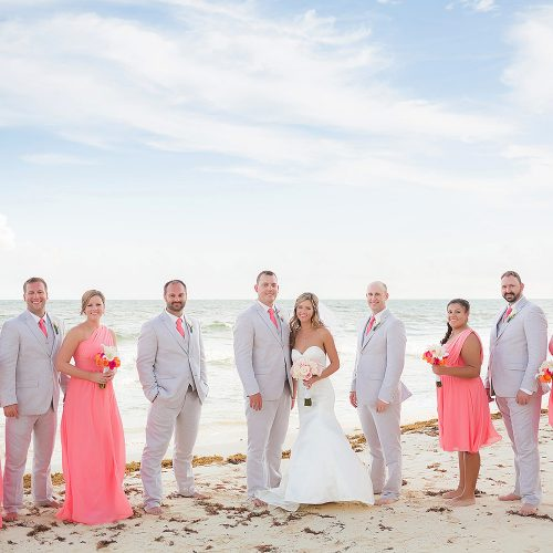 Wedding party on beach wedding location at NOW Jade Riviera Cancun