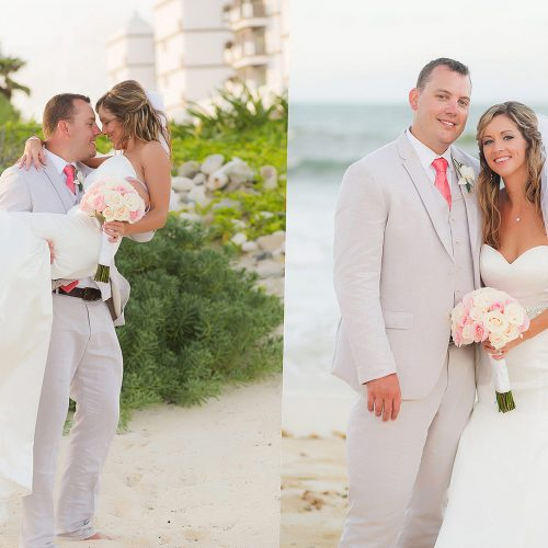 Bride and groom on beach after wedding at NOW Jade Riviera Cancun