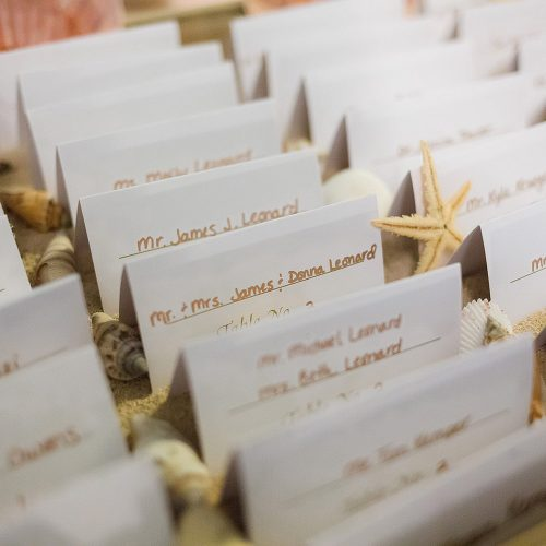 Close up of escort cards at wedding