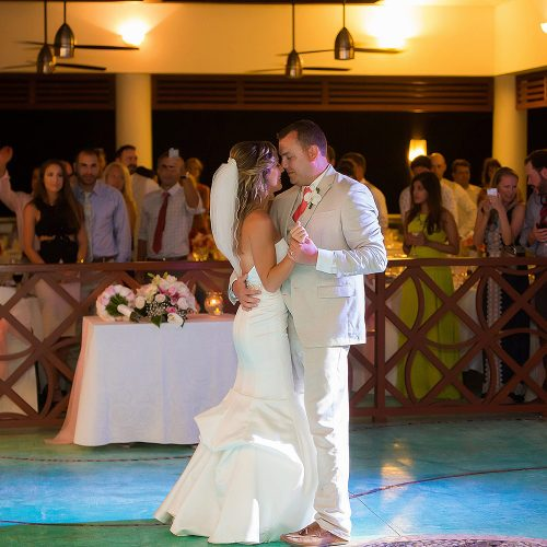 Bride and groom's first dance at NOW Jade Riviera Cancun