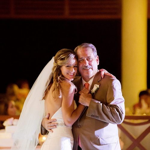 Bride dancing with father at NOW Jade Riviera Cancun wedding