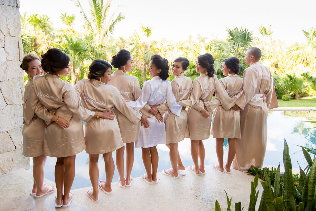 Bridesmaids in robes at Secrets Maroma, Riviera Maya