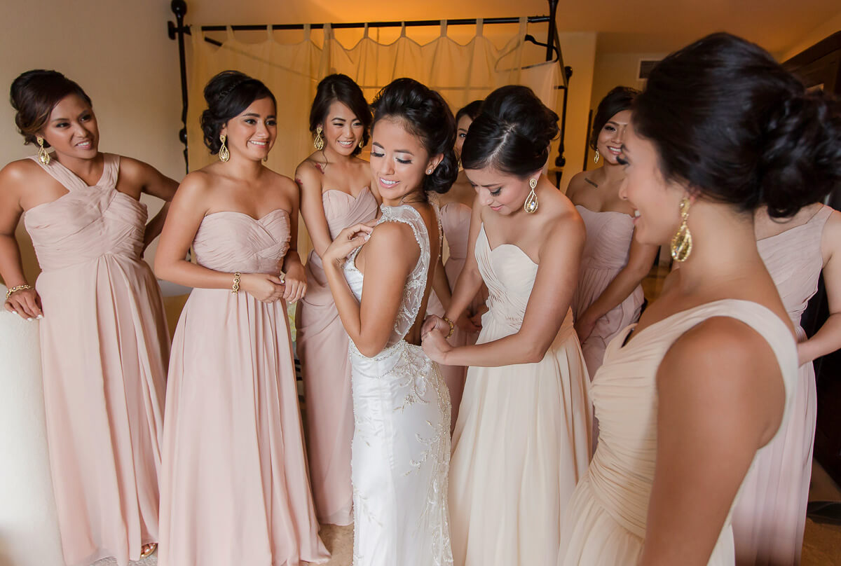 Bride and bridesmaids getting ready at Secrets Maroma, Riviera Maya