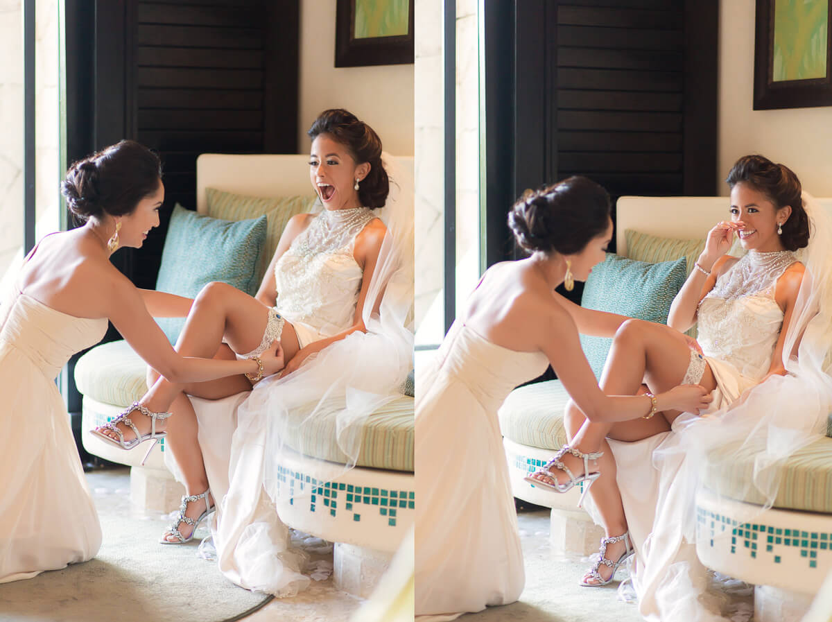 Bride having garter put on at Secrets Maroma, Riviera Maya wedding
