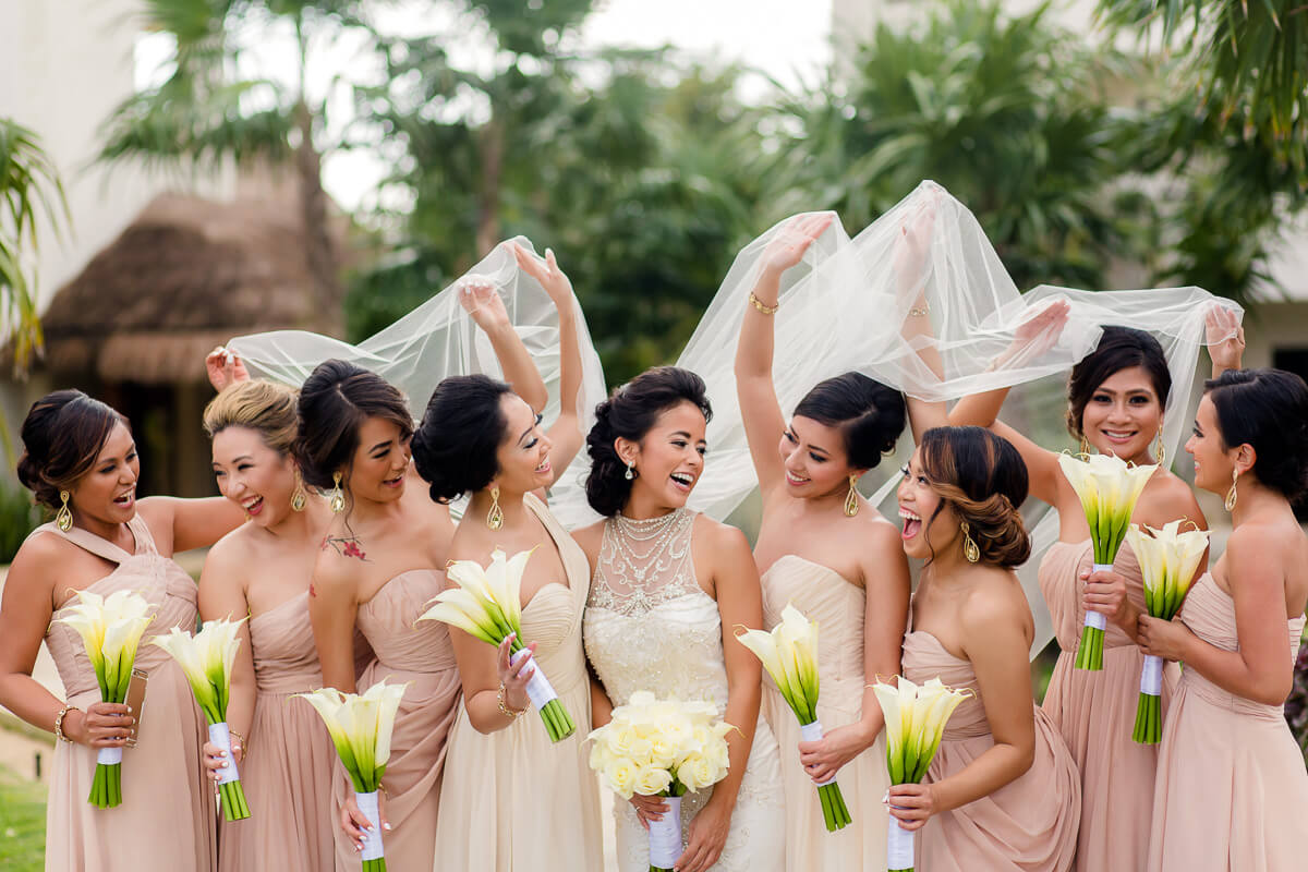 Bridesmaids before wedding at Secrets Maroma