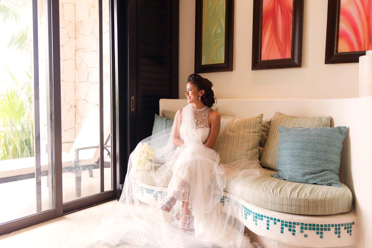 Portrait of bride in room at Secrets Maroma, Riviera Maya
