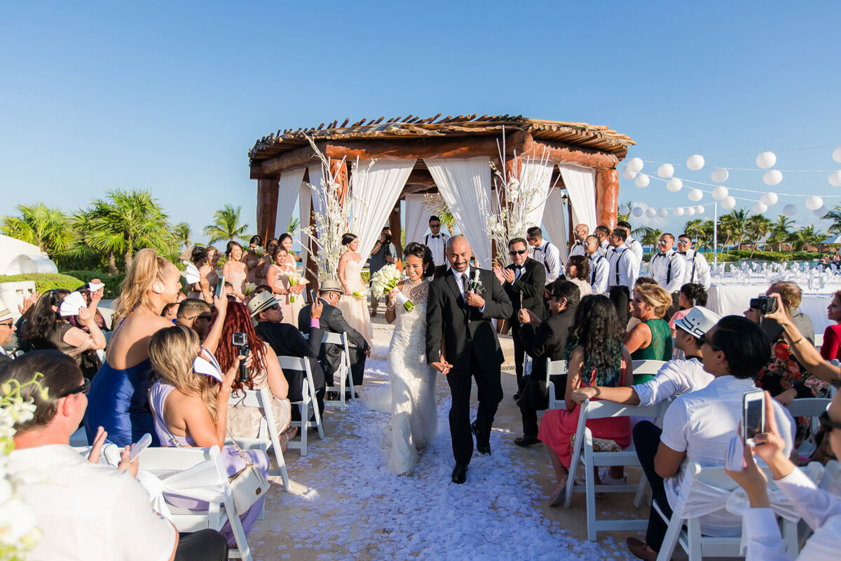 Bride and groom after wedding at Secrets Maroma, Riviera Maya